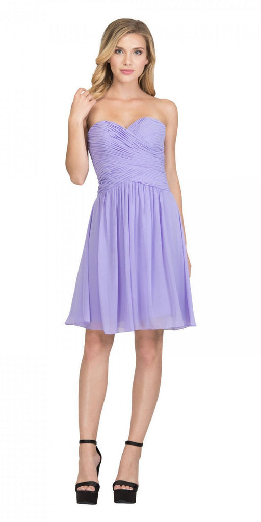Starbox USA S6127 Sweetheart Neck Ruched Bodice Chiffon Lilac Knee Length Bridesmaids Dress