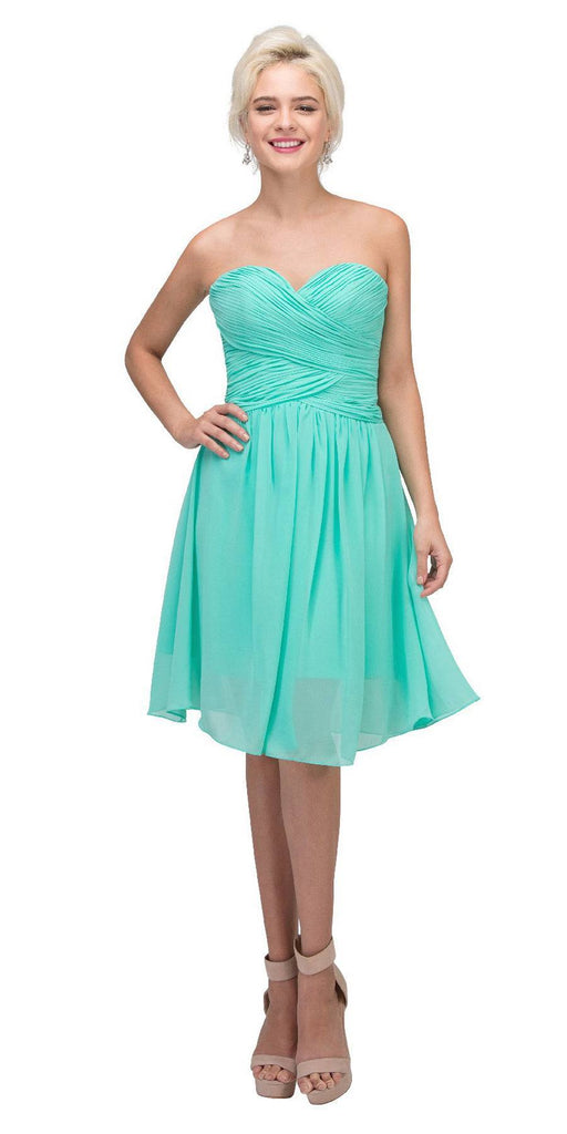 Starbox USA S6127 Sweetheart Neck Ruched Bodice Chiffon Mint Knee Length Bridesmaids Dress