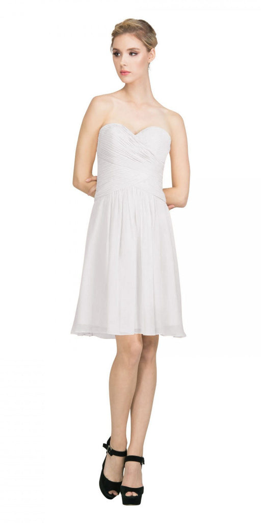 Starbox USA S6127 Sweetheart Neck Ruched Bodice Chiffon Off White Knee Length Bridesmaids Dress