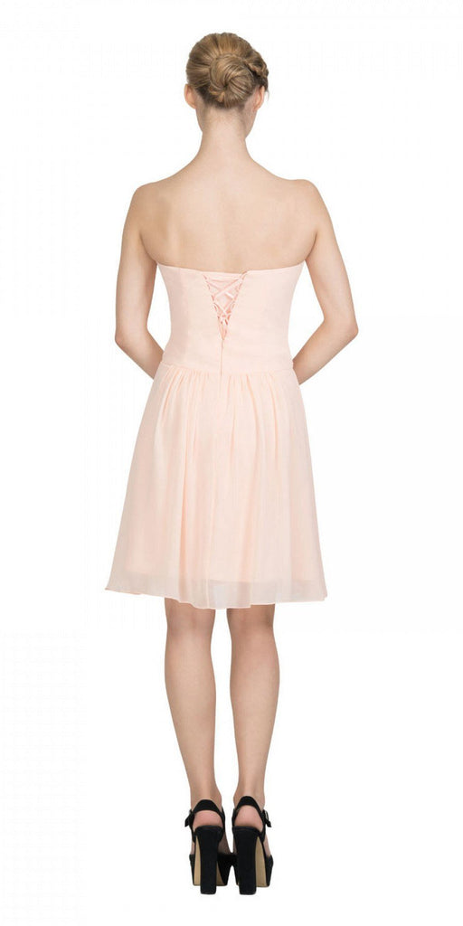 Starbox USA S6127 Sweetheart Neck Ruched Bodice Chiffon Peach Knee Length Bridesmaids Dress Back View