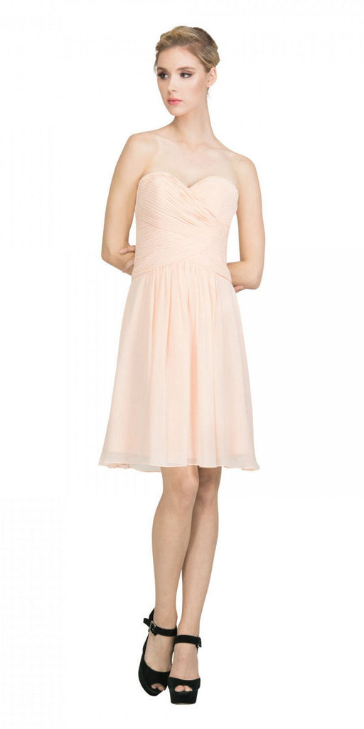 Starbox USA S6127 Sweetheart Neck Ruched Bodice Chiffon Peach Knee Length Bridesmaids Dress