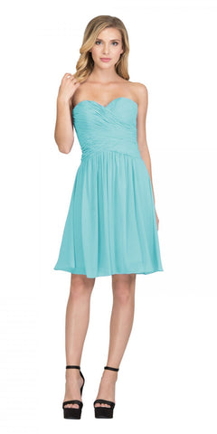 Starbox USA S6127 Sweetheart Neck Ruched Bodice Chiffon Tiffany Blue Knee Length Bridesmaids Dress