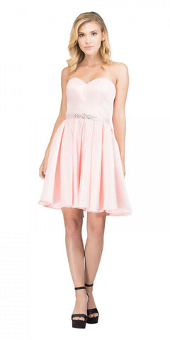 Starbox USA S6129 Strapless Satin A-Line Embellished Blush Above Knee Homecoming Dress