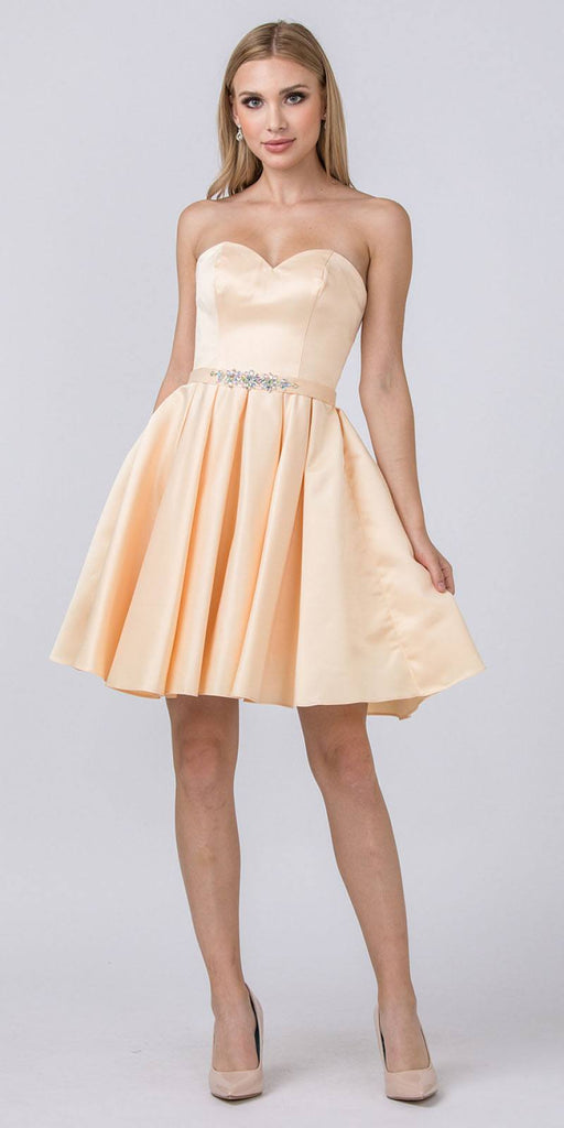 Starbox USA S6129 Strapless Satin A-Line Embellished Champagne Above Knee Homecoming Dress