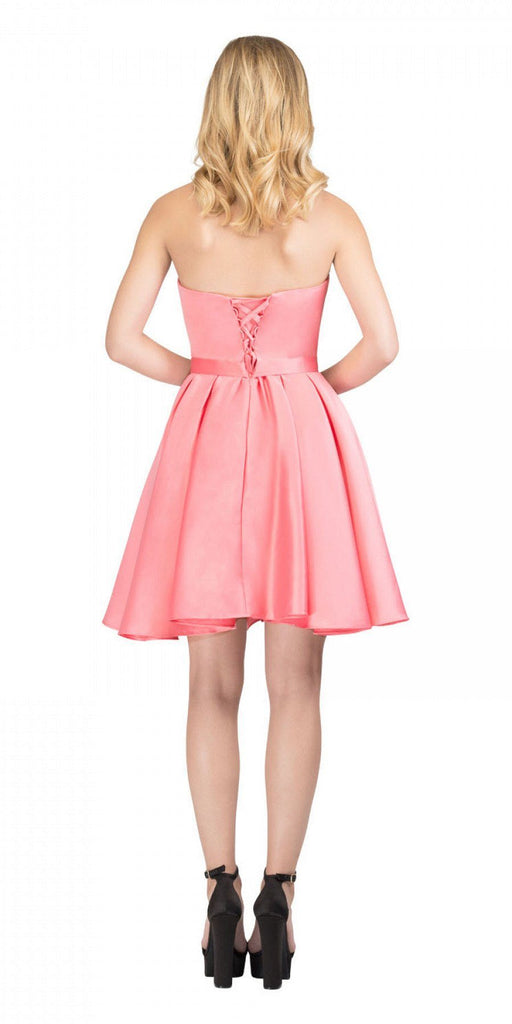 Starbox USA S6129 Strapless Satin A-Line Embellished Coral Above Knee Homecoming Dress Back View
