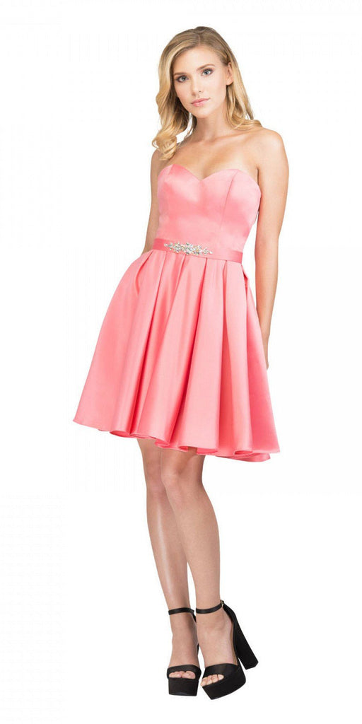 Starbox USA S6129 Strapless Satin A-Line Embellished Coral Above Knee Homecoming Dress