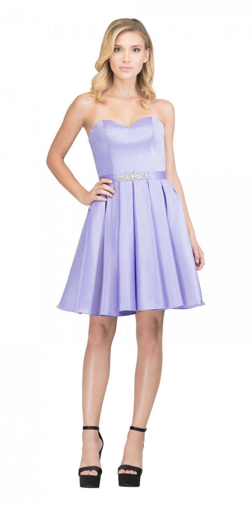 Starbox USA S6129 Strapless Satin A-Line Embellished Lilac Above Knee Homecoming Dress