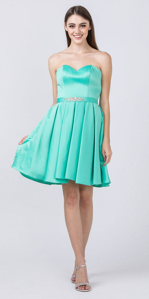 Starbox USA S6129 Strapless Satin A-Line Embellished Mint Above Knee Homecoming Dress