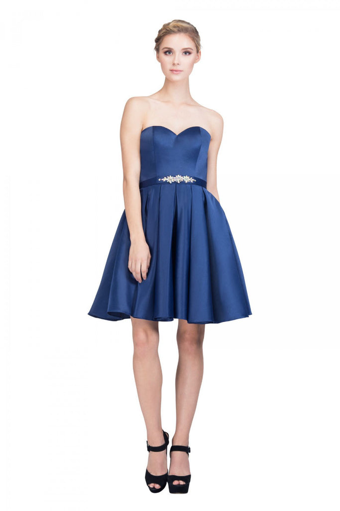 Starbox USA S6129 Strapless Satin A-Line Embellished Navy Blue Above Knee Homecoming Dress