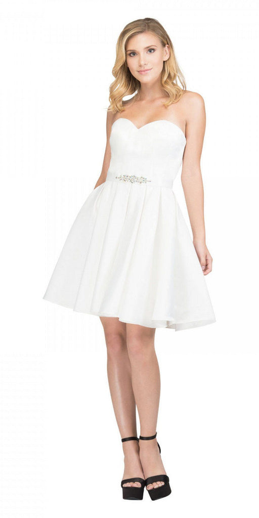 Starbox USA S6129 Strapless Satin A-Line Embellished Off White Above Knee Homecoming Dress