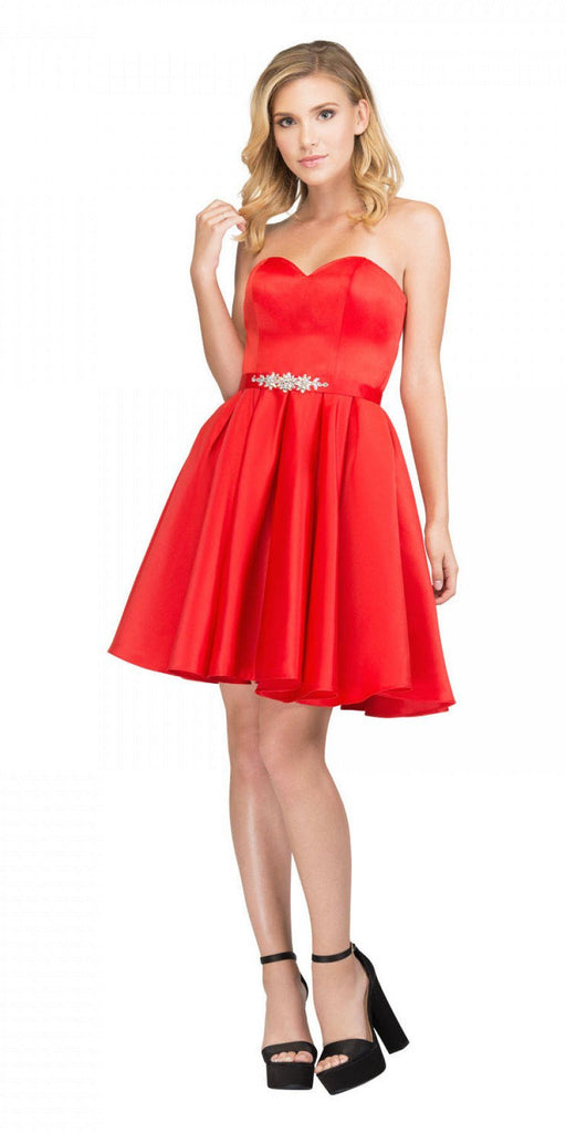 Starbox USA S6129 Strapless Satin A-Line Embellished Red Above Knee Homecoming Dress