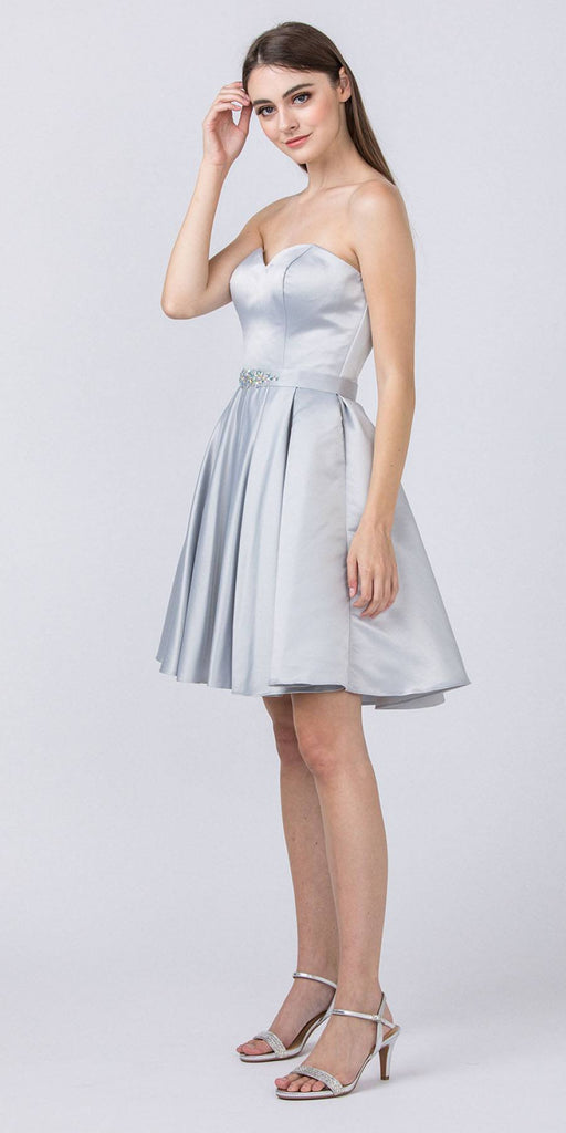Starbox USA S6129 Strapless Satin A-Line Embellished Silver Above Knee Homecoming Dress
