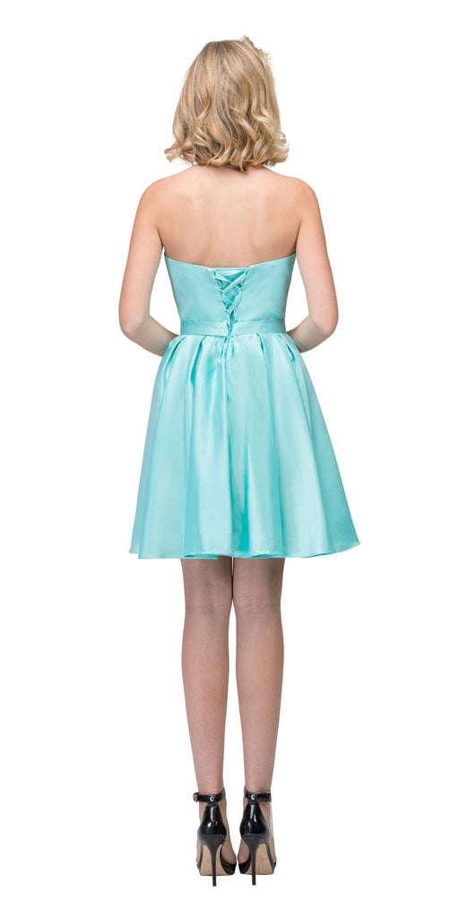 Starbox USA S6129 Strapless Satin A-Line Embellished Tiffany Blue Above Knee Homecoming Dress Back View