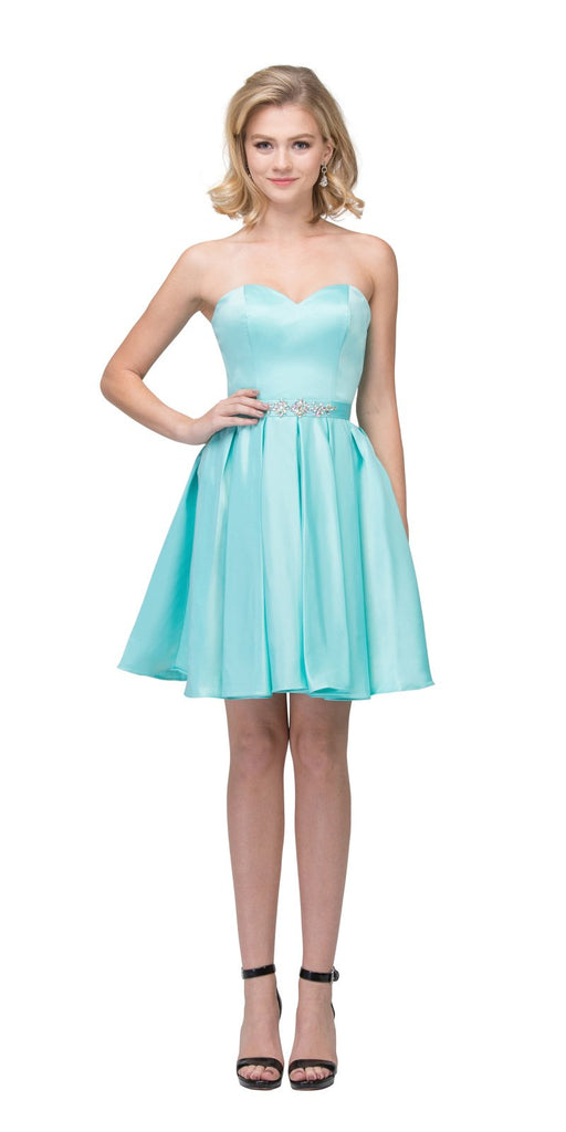 Starbox USA S6129 Strapless Satin A-Line Embellished Tiffany Blue Above Knee Homecoming Dress