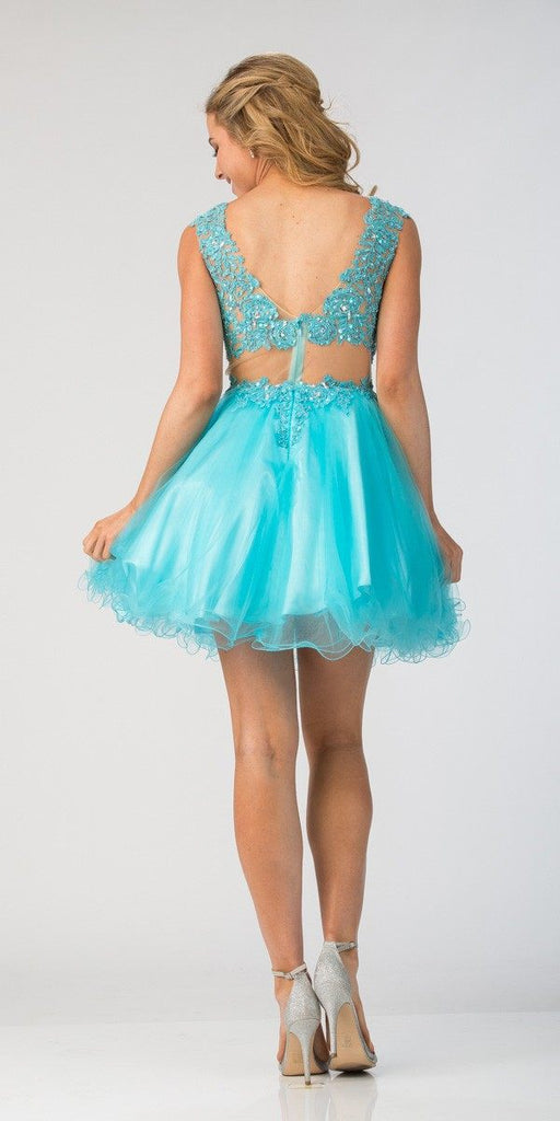 Starbox USA S6131-1 Illusion Beaded Applique Bodice Turquoise Tulle Skirt Prom Dress Short