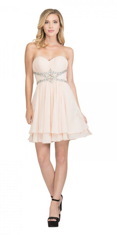 Starbox USA S6131 Ruched Bust Rhinestone Waist Champagne A-line Sweet Sixteen Dress Strapless