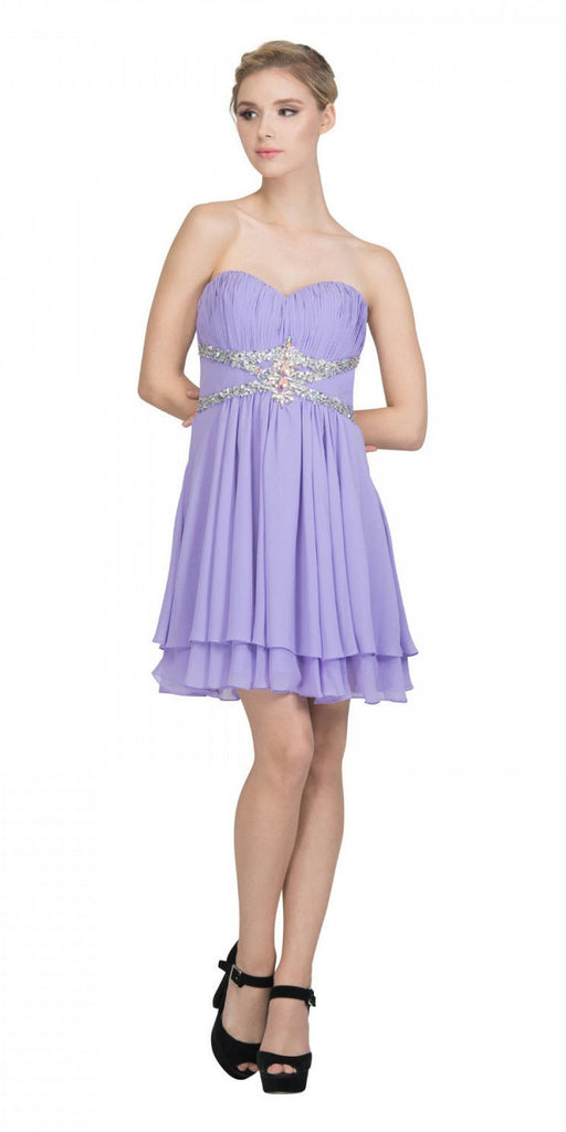 Starbox USA S6131 Ruched Bust Rhinestone Waist Lilac A-line Sweet Sixteen Dress Strapless