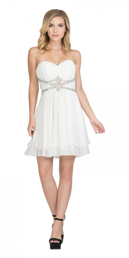 Starbox USA S6131 Ruched Bust Rhinestone Waist Off White A-line Sweet Sixteen Dress Strapless