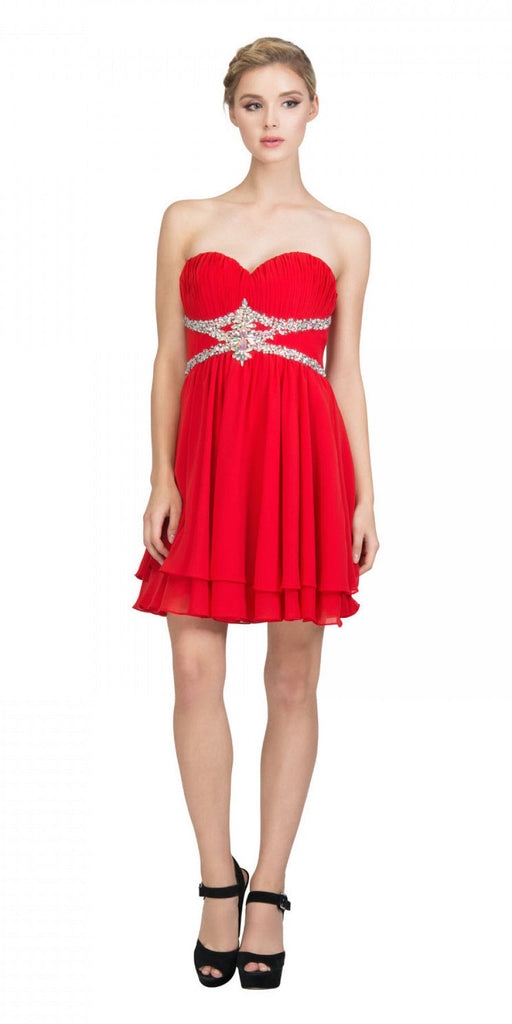 Starbox USA S6131 Ruched Bust Rhinestone Waist Red A-line Sweet Sixteen Dress Strapless