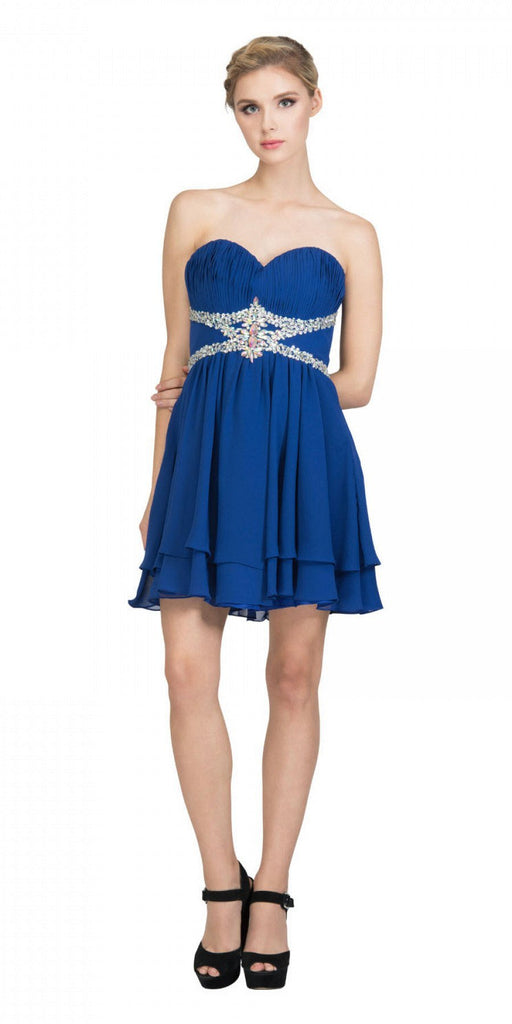 Starbox USA S6131 Ruched Bust Rhinestone Waist Royal Blue A-line Sweet Sixteen Dress Strapless