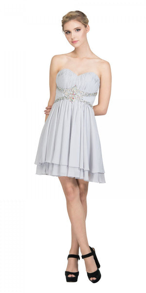 Starbox USA S6131 Ruched Bust Rhinestone Waist Silver A-line Sweet Sixteen Dress Strapless