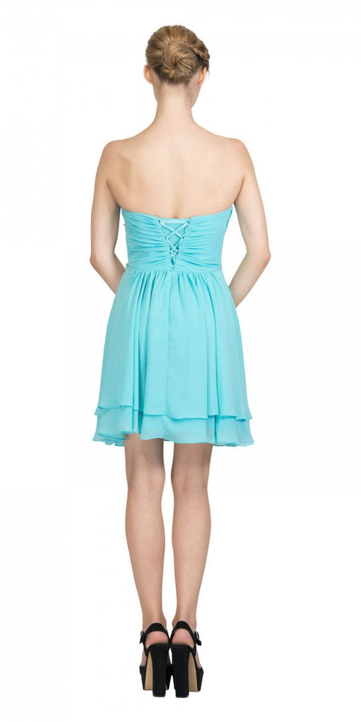 Starbox USA S6131 Ruched Bust Rhinestone Waist Tiffany Blue A-line Sweet Sixteen Dress Strapless