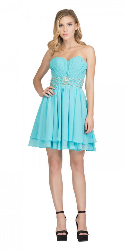 Starbox USA S6133 Aqua Strapless Pleated Bust Rhinestones Waist Layered Hem Damas Dress