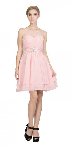 Starbox USA S6133 Blush Strapless Pleated Bust Rhinestones Waist Layered Hem Damas Dress