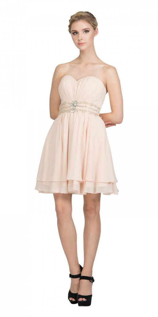 Starbox USA S6133 Champagne Strapless Pleated Bust Rhinestones Waist Layered Hem Damas Dress