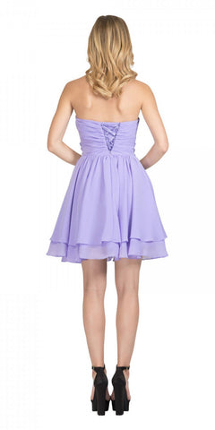 Starbox USA S6133 Lilac Strapless Pleated Bust Rhinestones Waist Layered Hem Damas Dress