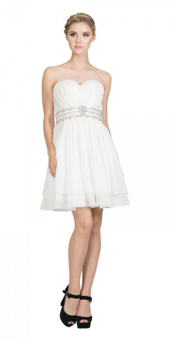 Starbox USA S6133 Off White Strapless Pleated Bust Rhinestones Waist Layered Hem Damas Dress