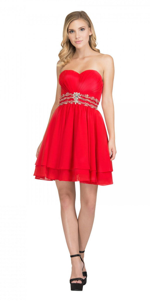 Starbox USA S6133 Red Strapless Pleated Bust Rhinestones Waist Layered Hem Damas Dress