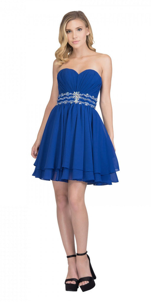 Starbox USA S6133 Royal Blue Strapless Pleated Bust Rhinestones Waist Layered Hem Damas Dress
