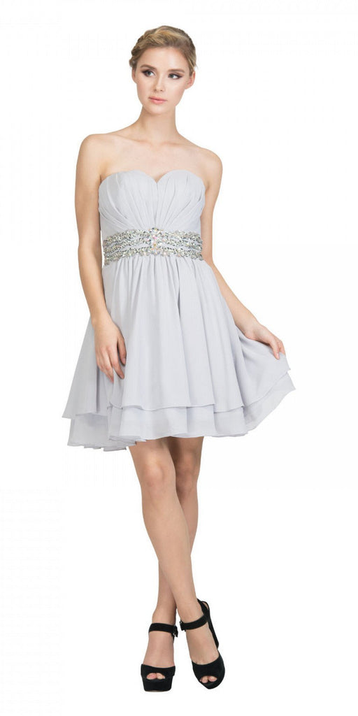 Starbox USA S6133 Silver Strapless Pleated Bust Rhinestones Waist Layered Hem Damas Dress