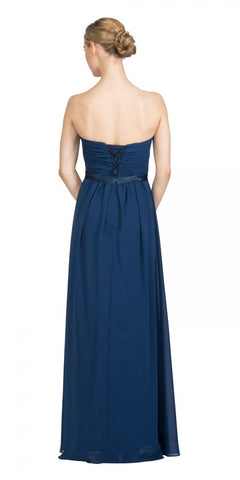 Starbox USA L6134 Strapless Navy Blue Pleated Bust Empire Waist Chiffon Formal Dress Back View
