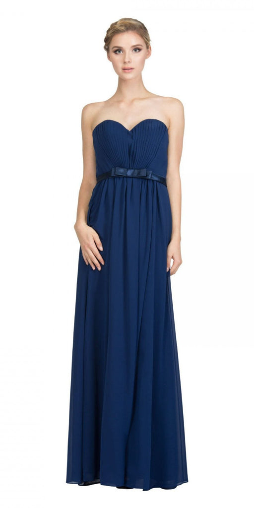 Starbox USA L6134 Strapless Navy Blue Pleated Bust Empire Waist Chiffon Formal Dress