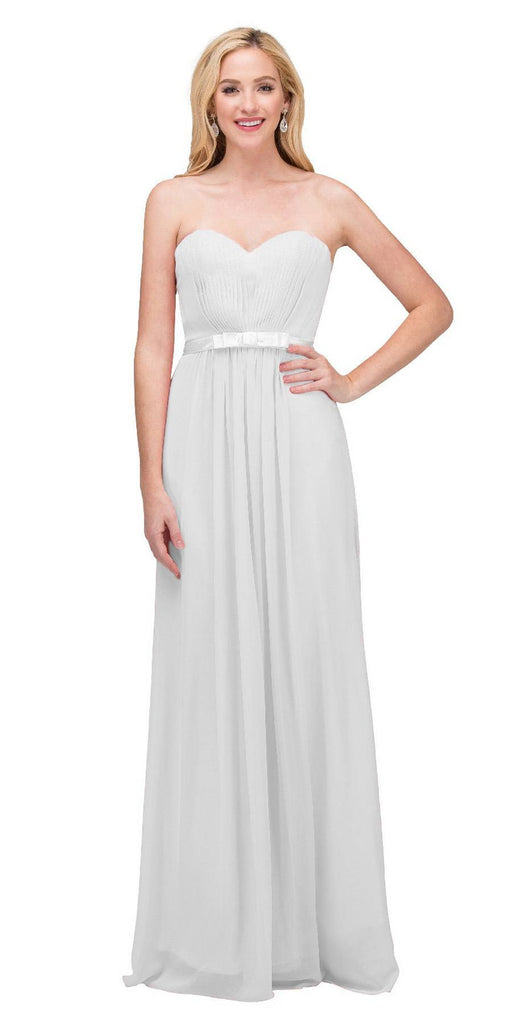 Starbox USA L6134 Strapless Off White Pleated Bust Empire Waist Chiffon Formal Dress