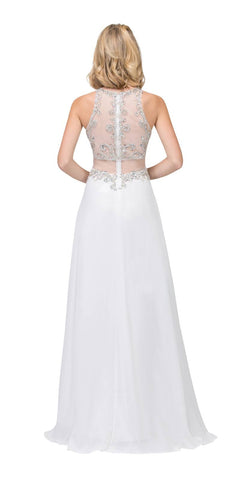 Starbox USA L6136 Off White Sleeveless Illusion High Neck Chiffon A-line Prom Dress Beaded