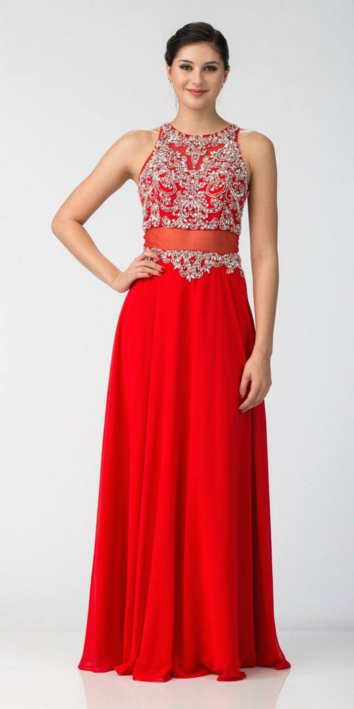 Starbox USA L6136 Red Sleeveless Illusion High Neck Chiffon A-line Prom Dress Beaded