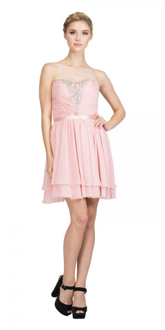 Starbox USA S6138-1 Blush Strapless Embellished Bodice Homecoming Dress