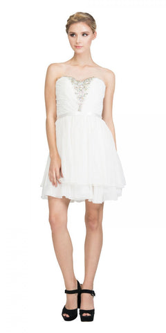 Starbox USA S6138-1 Off White Strapless Embellished Bodice Homecoming Dress