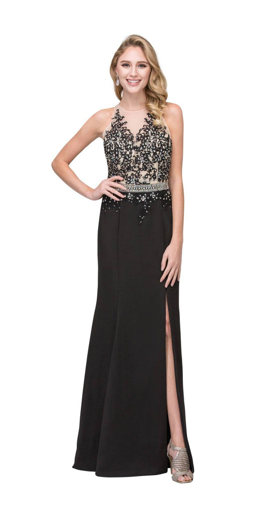 Appliqued Sheer Cut-Out Back Long Formal Dress Black