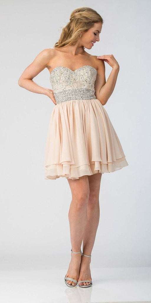 Starbox USA S6139 Lace Beaded Bodice Sweetheart Neckline Champagne Chiffon Skirt Prom Dress Short