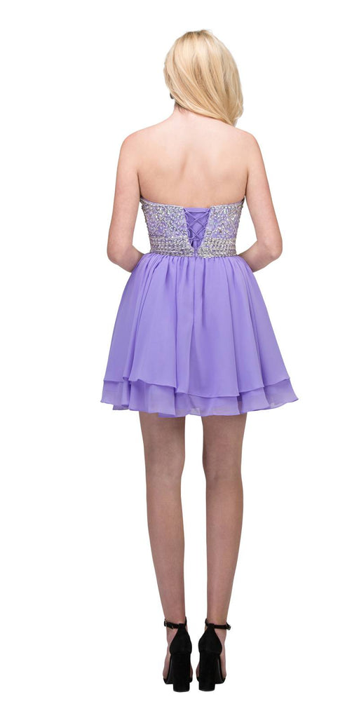 Starbox USA S6139 Lace Beaded Bodice Sweetheart Neckline Lilac Chiffon Skirt Prom Dress Short Back View