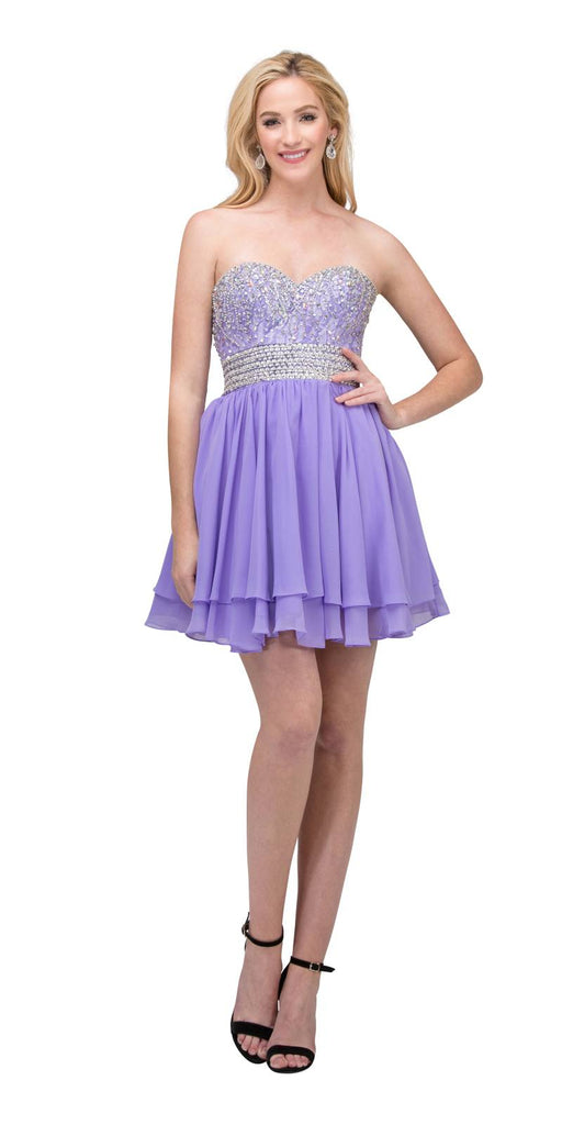 Starbox USA S6139 Lace Beaded Bodice Sweetheart Neckline Lilac Chiffon Skirt Prom Dress Short