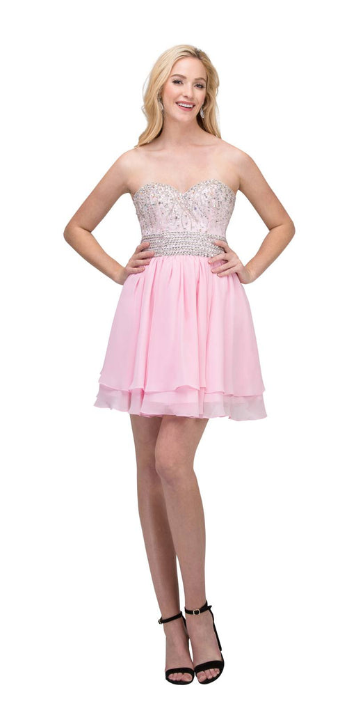 Starbox USA S6139 Lace Beaded Bodice Sweetheart Neckline Pink Chiffon Skirt Prom Dress Short Back View
