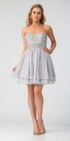 Starbox USA S6139 Lace Beaded Bodice Sweetheart Neckline Silver Chiffon Skirt Prom Dress Short Back View