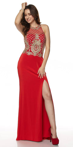 Juliet 614 Sexy Floor Length Formal Gown Red Cut Out Back Slit
