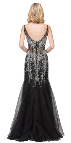 Mermaid Beaded Evening Gown V-Neck Sheer Midriff Black