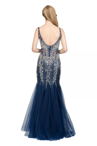 Mermaid Beaded Evening Gown V-Neck Sheer Midriff Navy Blue
